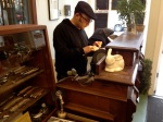 The knife sharpener at work